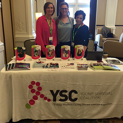 Stock 10 doctors' offices with educational materials to help young women affected by breast cancer find Young Survival Coalition.